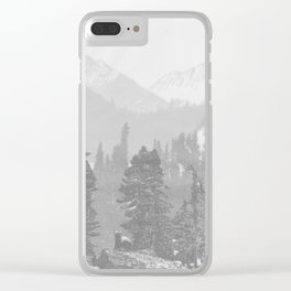 Bear in the mountains Clear iPhone Case