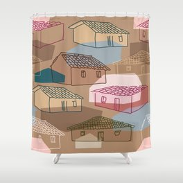 Rustic Rural Village Pattern Shower Curtain