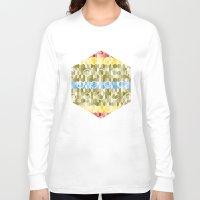hexagon Long Sleeve T-shirts featuring Hexagon pattern by rollerpimp