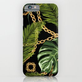 Tropical vintage Baroque pattern with golden chains, palm leaves, baroque elments on dark background. Classical luxury damask hand drawn illustration pattern. iPhone Case