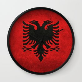 National flag of Albania with Vintage textures Wall Clock