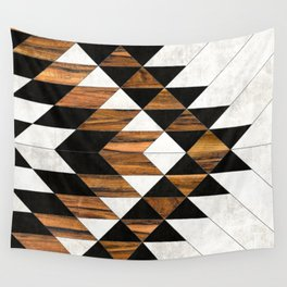 Urban Tribal Pattern 9 - Aztec - Concrete and Wood Wall Tapestry