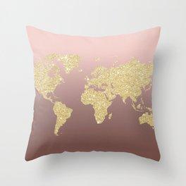 Gold Glitter on Rose Gold World Map Art Throw Pillow