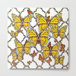 ABSTRACT LACEY PATTERN MONARCH BUTTERFLIES DESIGN Metal Print