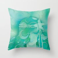 mermaid Throw Pillows featuring Ocean Queen by Graphic Tabby