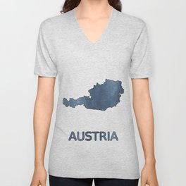 Austria map outline Dark blue clouded watercolor Unisex V-Neck