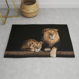 Portrait of Lion Family on dark background - vintage nature photo Rug
