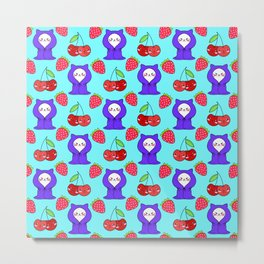 Cute funny sweet adorable little white baby kittens wrapped in a cozy blanket, little cherries, red ripe summer strawberries cartoon fantasy pastel turquoise blue pattern Metal Print