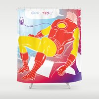tony stark Shower Curtains featuring God Yes! says Tony Stark by Hoboxia