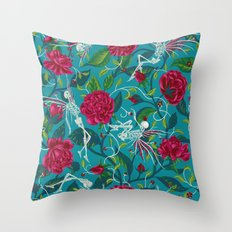 Death of Summer (carmine and blue) Throw Pillow