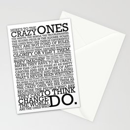 Here's To The Crazy Ones - Steve Jobs Stationery Cards