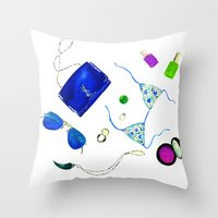 ysl Throw Pillows featuring Blue Flat lay  by Koma Art
