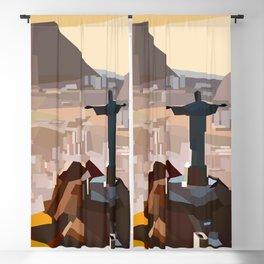 Geometric Christ the Redeemer, Brazil Blackout Curtain
