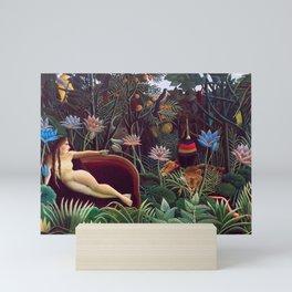 The Dream by Henri Rousseau 1910 // Jungle Lion Flowers Native Female Laying Colorful Landscape Mini Art Print
