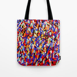Abstract laberinto red blue Tote Bag