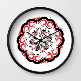 Floral Black and Red Round Ornament Wall Clock