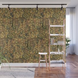 Golden Meadow, Abstract Floral Pattern,  Fiber Texture, Felted Wool  Wall Mural
