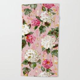Vintage green pink white bohemian hortensia flowers Beach Towel
