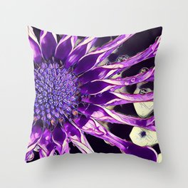 African Daisy in Manipulated Purple Throw Pillow
