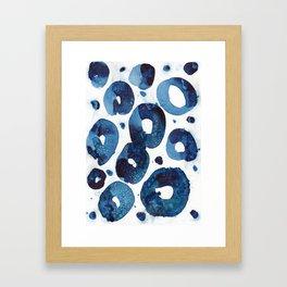 Connected blue circles Framed Art Print