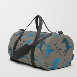 Blue Brown War Horse Duffle Bag