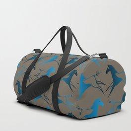 Blue Brown War Horse Duffle Bag