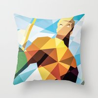 dc comics Throw Pillows featuring DC Comics Aquaman by Eric Dufresne