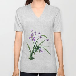 Butterflies and flowers Unisex V-Neck