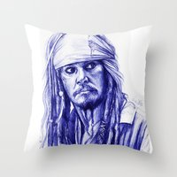 jack sparrow Throw Pillows featuring Jack Sparrow by Luna Perri