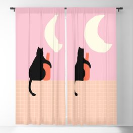 Abstraction_CAT_DRUNK_NIGHT_Minimalism_001 Blackout Curtain