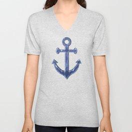 Navy Blue Anchor Pattern Unisex V-Neck