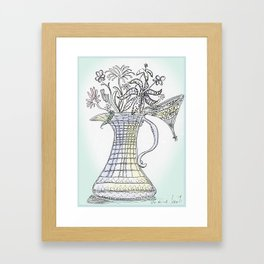 Pitcher with Flowering Plants Framed Art Print