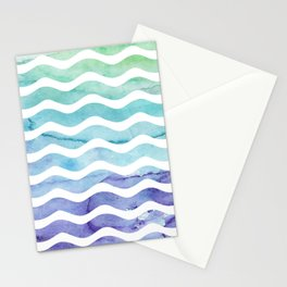 Modern teal purple watercolor wave striped Stationery Cards