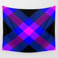 bands Wall Tapestries featuring Tartan Pattern 4 by Latidra Washington