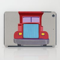 truck iPad Cases featuring red truck by elvia montemayor