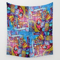 steam punk Wall Tapestries featuring Steam Punk Music with key Board, Horns, Gears  In Blue, Pink & Yellow Abstract by SharlesArt