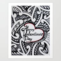 valentines Art Prints featuring Valentines by Lonica Photography & Poly Designs