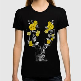 The Stag and Roses | Deer and Flowers | Yellow | Vintage Stag | Vintage Deer | Antlers | Woodland | T-shirt