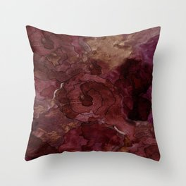 Rose, Burgundy and Merlot Watercolor Flowers Throw Pillow