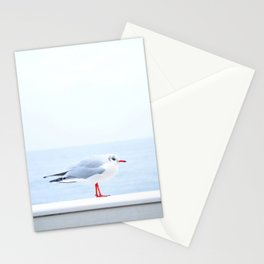 White bird at the beach Stationery Cards