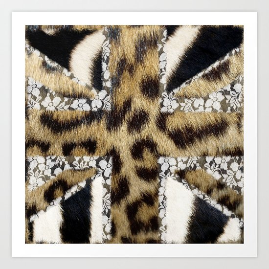 Wild   Hipster leopard Print Zebra UK Union Jack Flag  Art Print
