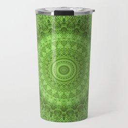 Sunflower Feather Bohemian Leaf Pattern \\ Aesthetic Vintage \\ Green Teal Aqua Color Scheme Travel Mug