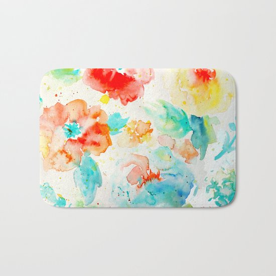 Abstract Flowers 02 Bath Mat