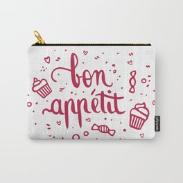 Bon appétit - calligraphy (pink) Carry-All Pouch