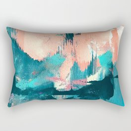 Sugar: a fun, minimal mixed-media abstract piece in pinks and blues Rectangular Pillow