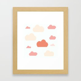 Cloud white and pink Framed Art Print