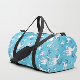 Stencil Unicorn on Teal Sky and Cloud Spray Duffle Bag
