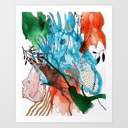 Orange and Blue Botanical Coral Reef Abstract Art Print