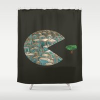 pacman Shower Curtains featuring Pacman by gunberk