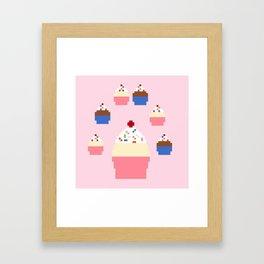 Pixel Cupcakes (Pink) Framed Art Print